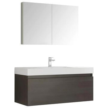 Fresca Senza 48-in Gray Oak Single Sink Bathroom Vanity with White Acrylic Top (Faucet Included) | FVN8011GO