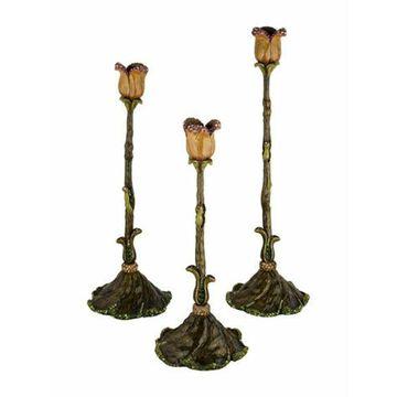 Set of 3 Embellished Tulip Candlesticks green