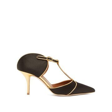 Malone Souliers - Imogen Silk-satin Mules - Womens - Black Gold