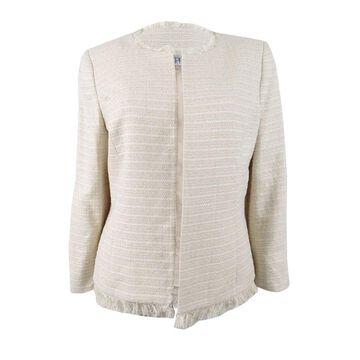 Kasper Women's Plus Size Fringe-Trim Flyaway Jacket - Champagne Multi - 24W