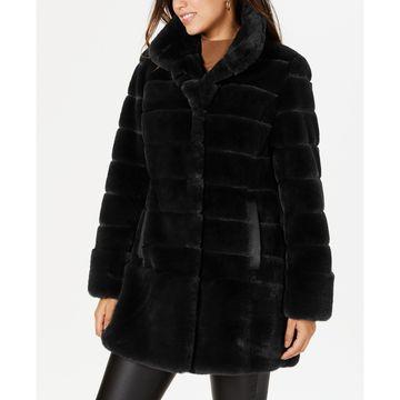Petite Faux-Leather-Pocket Faux-Fur Coat
