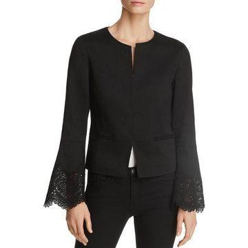 Kobi Halperin Womens Neve Linen Blend Lace Inset Jacket