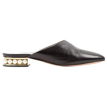 Nicholas Kirkwood Black Leather Flats
