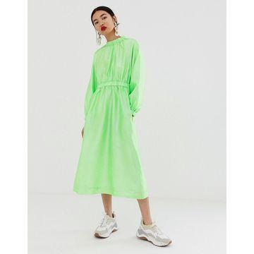ASOS WHITE textured gathered neck dress-Green