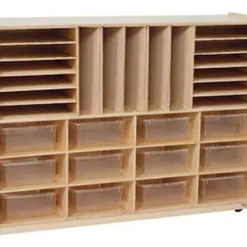 Wood Designs Multi-Sectioned Storage Center With 12 Translucent Rectangular Trays, Birch | Quill
