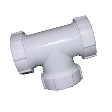LASCO 03-4277 White Plastic Tubular 1-1/2-Inch Slip Joint Tee with Nuts and W...