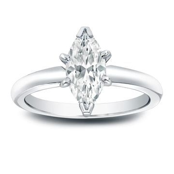 Auriya Platinum 1 carat TW Marquise Solitaire Diamond Engagement Ring