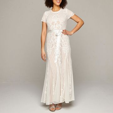 R & M Richards Short Sleeve Sequin Wedding Gown