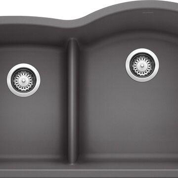 BLANCO Diamond Undermount 32-in x 20.875-in Cinder (Gray) Double Offset Bowl Kitchen Sink   441600