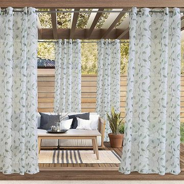 """Commonwealth Home Fashions 96"""" Two-Tone Leaf Botanical Curtain Panel In Green (Single)"""