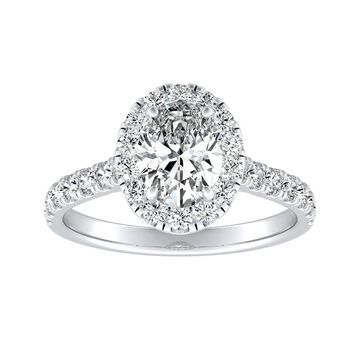 Classic Oval-cut 7/8cttw Halo Diamond Engagement Ring 18k Gold by Auriya