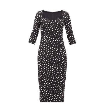 Dolce & Gabbana - Boned-bodice Polka-dot Crepe Midi Dress - Womens - Black White