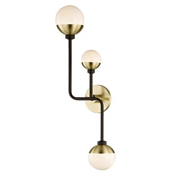 allen + roth Hipster 10.5-in W 3-Light Bronze/Brass Transitional Wall Sconce