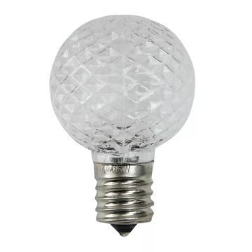 Northlight Seasonal 25 Clear Faceted LED G40 Replacement Christmas Bulbs, White