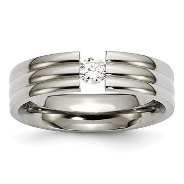 Chisel Titanium Grooved 6mm Diamond Polished Standard Fit Wedding Band (7)