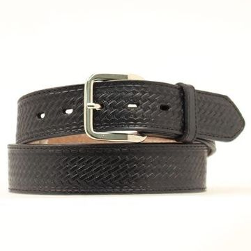 Nocona N1012001-54 Basketweave Embossed Leather Belt, Black - Size 54