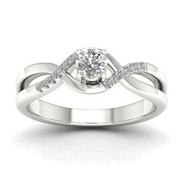 De Couer IGI Certified 10k White Gold 1/20ct TDW Diamond Criss-Cross Engagement Ring - White H-I - White H-I (9)