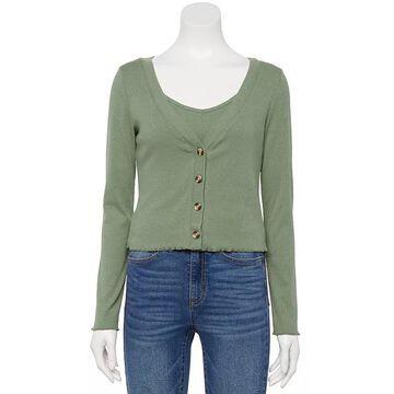 Juniors' WallFlower Cotton Rib Cardigan, Girl's, Size: XL, Lt Green