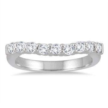 Marquee Jewels 10k White Gold 1/2ct TDW Round-cut Diamond Curve Band