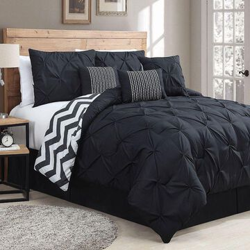 Avondale Manor Ella Pinch Pleat Comforter Set, Black, King