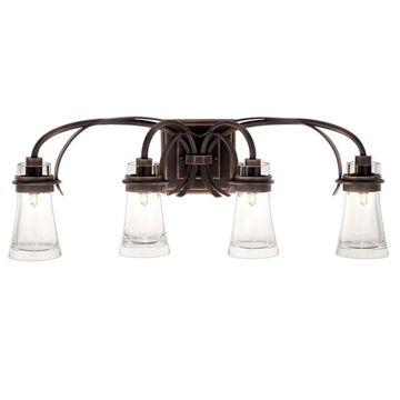 """Kalco Dover 4-Light 30"""" Bathroom Vanity Light in Antique Copper"""