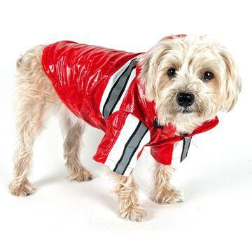 Pet Life Reflecta-Glow Reflective Waterproof Adjustable Pvc Pet Raincoat in Red, Small