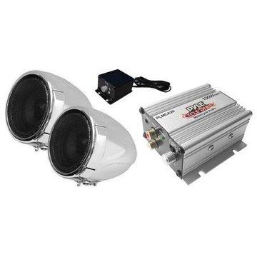 PYLE PLMCA20 - 100 Watt Weatherproof Speaker and Amplifier System with Dual 3'' Speakers, Aux (3.5mm) Input, Handlebar Mount (for Motorcycle, ATV, Snowmobile, Scooter, Boat, Waverunner, Jetski, etc.)