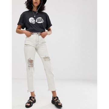 Cheap Monday organic cotton Donna rigid mom jeans with distressing-White