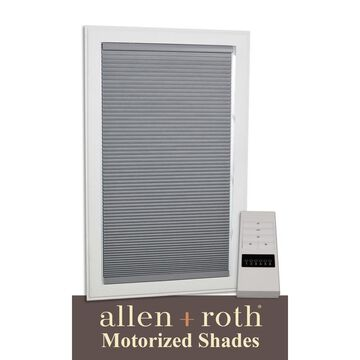 allen + roth Motorized Cellular Shade 70-in x 72-in Gray Blackout Cordless Motorized Cellular Shade Polyester   78648