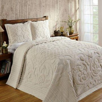 Better Trends Ashton Collection is super soft and light weight in Medallion Design 100% Cotton Tufted Unique Luxurious Machine Washable Tumble Dry, Full/Double Bedspread, Ivory