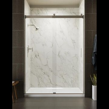 "Kohler K-706165-L Levity 82"" High x 59-5/8"" Wide Sliding Frameless Shower Door with Clear Glass Brushed Nickel Showers Shower Doors Sliding"