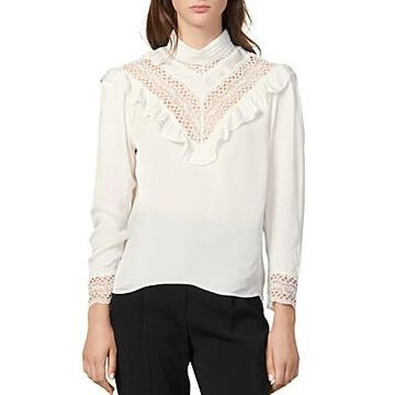 Sandro Jeane Ruffled Lace-Inset Top