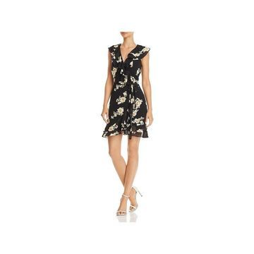 Bardot Womens Wrap Dress Cap Sleeves Floral Print