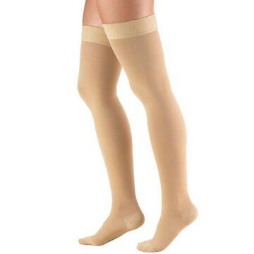 Truform Stockings, Thigh High, Closed Toe, Dot Top: 20-30 mmHg, Beige, Small