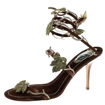 Rene Caovilla Brown Satin Crystal Embellished Vine Ankle Wrap Open Toe Sandals Size 38.5