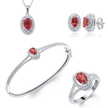 Divina Rhodium-plated Gemstone Diamond Accent 4-piece Jewelry Set