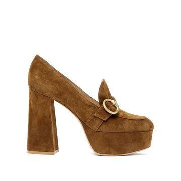 Gianvito Rossi - Louise Suede Platform Loafers - Womens - Dark Brown