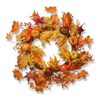 National Tree Company Maple Leaf and Pumpkins Wreath