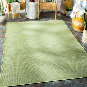 "Art of Knot Jonquil Grass Green 7'8"" x 10' Global Lattice Rectangle Area Rug"