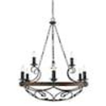 Golden Lighting Madera 9-Light Black Iron Rustic Candle Chandelier