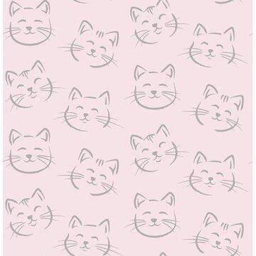 Brewster Purr Pink Cat Wallpaper