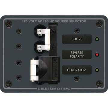 Blue Sea Systems Traditional Metal Circuit-Breaker Panel, 120V AC Toggle Source Selector