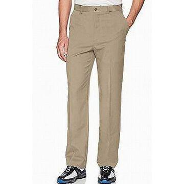 Greg Norman Mens Beige Size 34x32 Straight Leg Dress Flat Front Pants