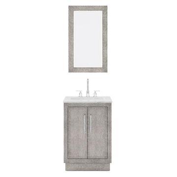 Hugo Carrara Marble Countertop Vanity with Mirror and Gooseneck Faucet