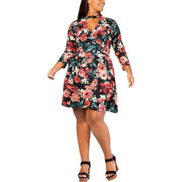 Planet Gold Womens Floral Wrap Casual Dress