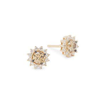 Le Vian Nude Palette14K Vanilla Gold And Nude Diamonds & Chocolate Diamonds Sunburst Stud Earrings