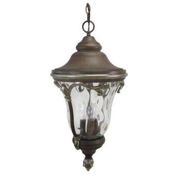 Golden Grain and Clear Hammered Glass Exterior Hanging Light