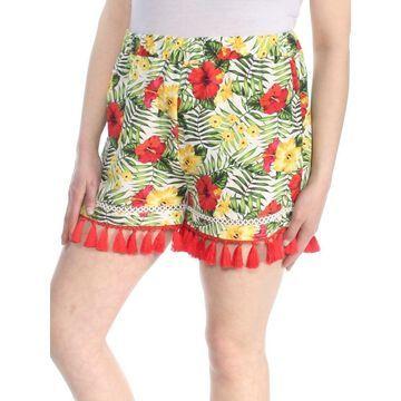 XOXO Womens Green Floral Tassel Hem Pull On Short Juniors Size: L