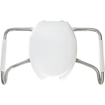 Bemis MA2150 Medic-Aid& Elongated Open Front Plastic Toilet Seat with Cover with STA-TITE& DuraGuard& and Stainless Steel Safety Side