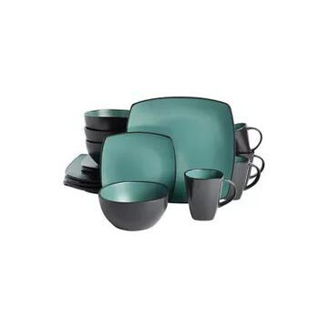 Gibson Soho Lounge Teal Matte Soft Square 16 Piece Dinnerware Set -